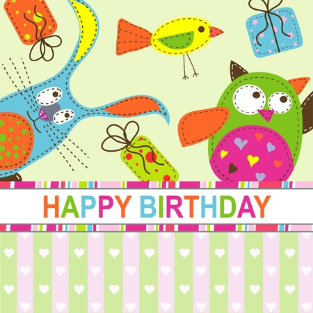 Template birthday greeting card, vector illustration Vector