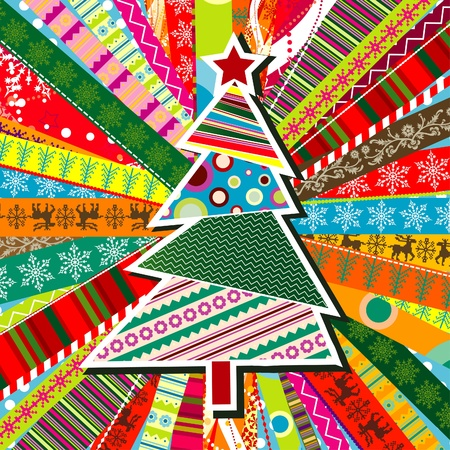 Scrapbook christmas patterns greeting card for design, vector illustration Vector