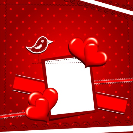 Template heart greeting card, vector illustration Vector