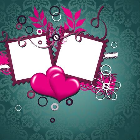 Template heart greeting card, vector illustration Vector