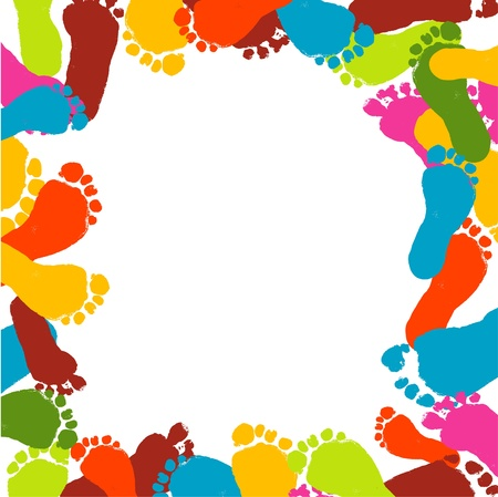 foots: Abstract background, prints of foots of the child, vector illustration