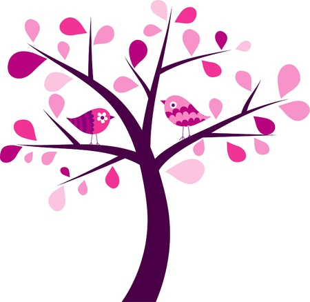 Valentines tree background, vector illustration Stock Vector - 11930391