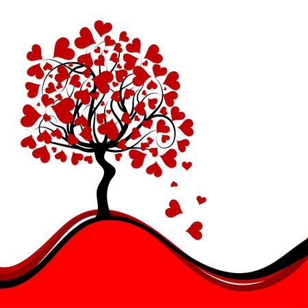 Valentines tree background, vector illustration Vector