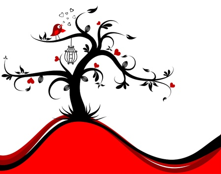 cage: Valentines tree background, vector illustration