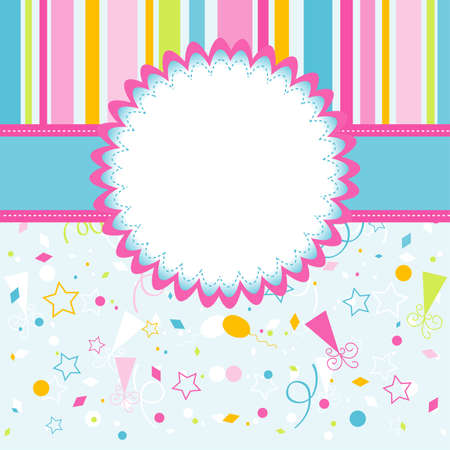 happy birthday girl: Template greeting card, vector illustration