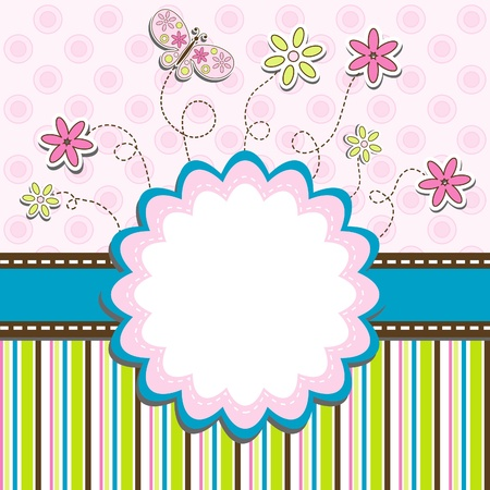 greeting people: Template greeting card, vector illustration