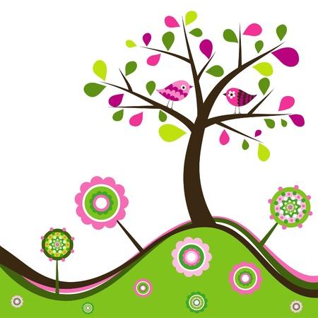 Floral spring background, illustration Illustration
