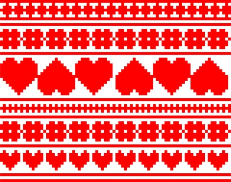 Seamless knitted valentine pattern, illustration Vector
