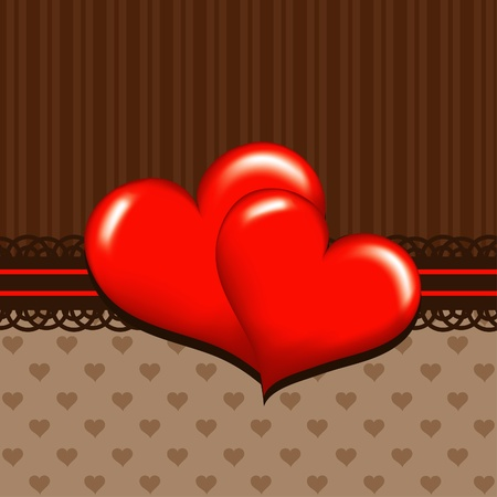 Template heart greeting card, illustration Vector