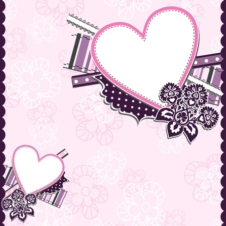 Template heart greeting card, illustration