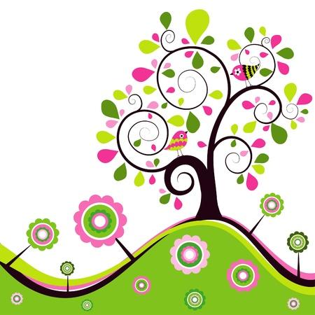tree drawing: Floral spring background, illustration Illustration