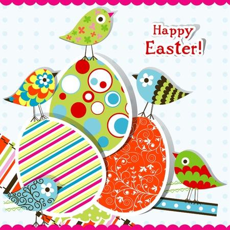 polka dot pattern: Template Easter greeting card, vector illustration Illustration