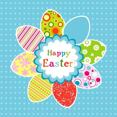 Plantilla de la tarjeta de felicitación de Pascua, ilustración vectorial