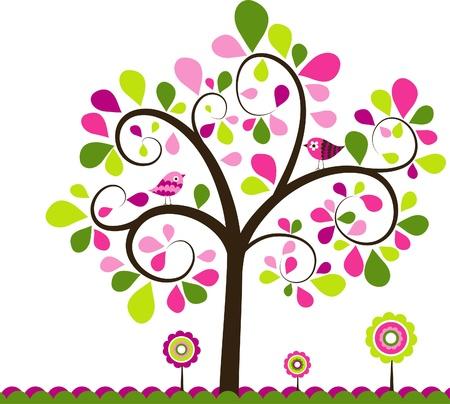 иллюстрировать: Валентина дерево фон, векторные иллюстрации