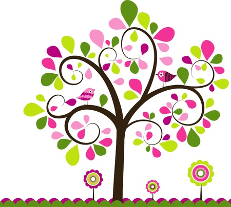 drawing trees: Valentines tree background, vector illustration