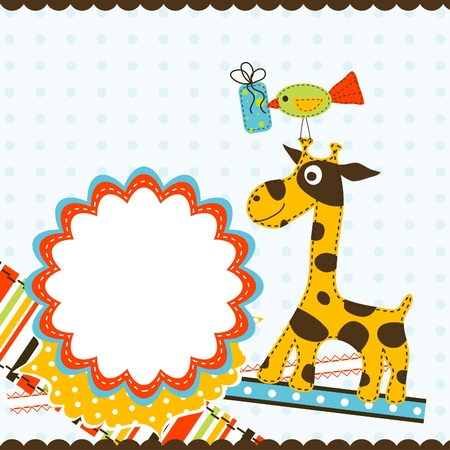 baby scrapbook: Template greeting card, vector illustration