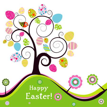 arbol de pascua: Plantilla de la tarjeta de felicitaci�n de Pascua, ilustraci�n vectorial