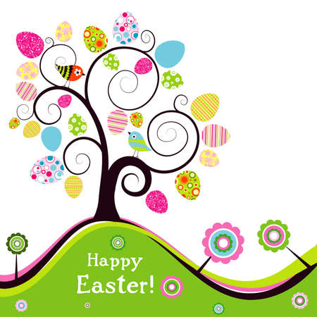 easter tree: Sjabloon groetkaart van Pasen, vector illustratie