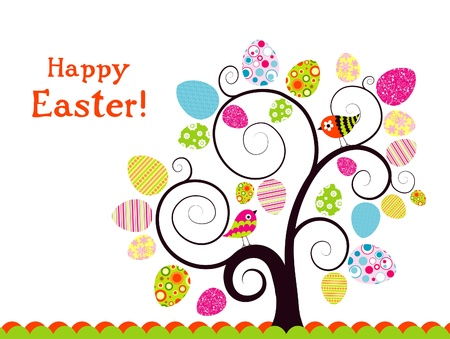 �rboles con pajaros: Plantilla de la tarjeta de felicitaci�n de Pascua, ilustraci�n vectorial