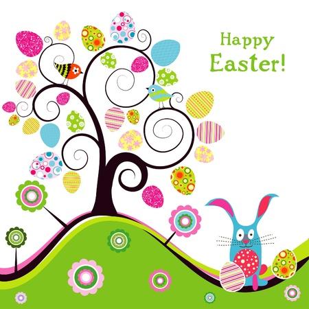 arbol de pascua: Plantilla de la tarjeta de felicitación de Pascua, ilustración vectorial