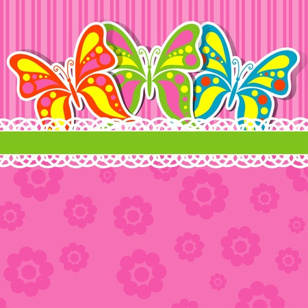 butterfly border: Template greeting card, vector illustration
