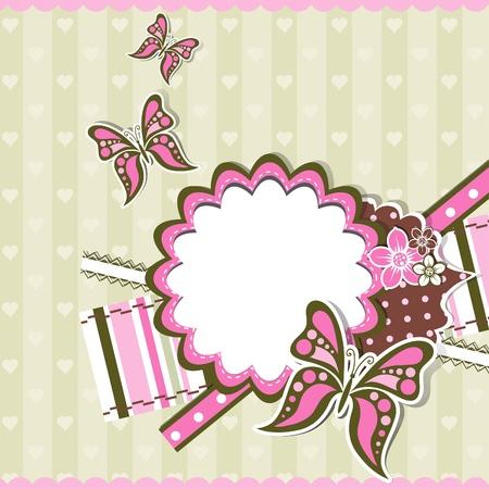 Template greeting card, scrap vector illustration
