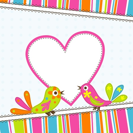 cute border: Template greeting card, vector scrap illustration