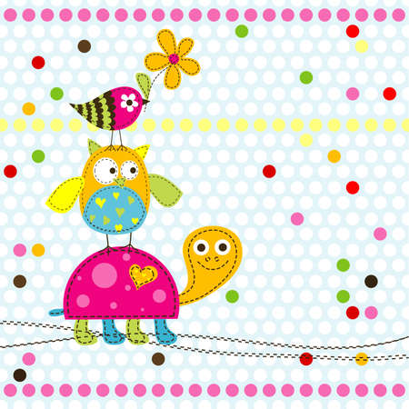 cute border: Template greeting card, vector illustration