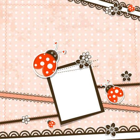 mariquitas: Plantilla de tarjetas de felicitación, ilustración vectorial chatarra