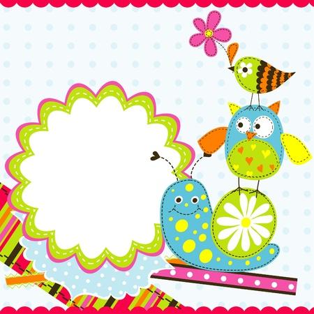 Template greeting card, vector scrap illustration Stock Vector - 13041142