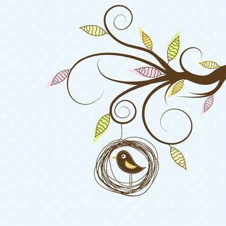 nido de pajaros: Árbol decorativo y de aves, ilustración vectorial