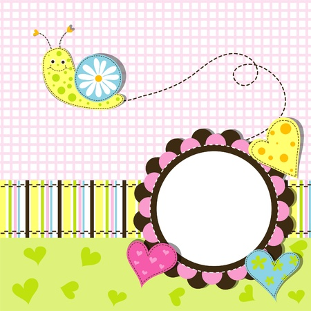 clam illustration: Template greeting card, vector scrap illustration