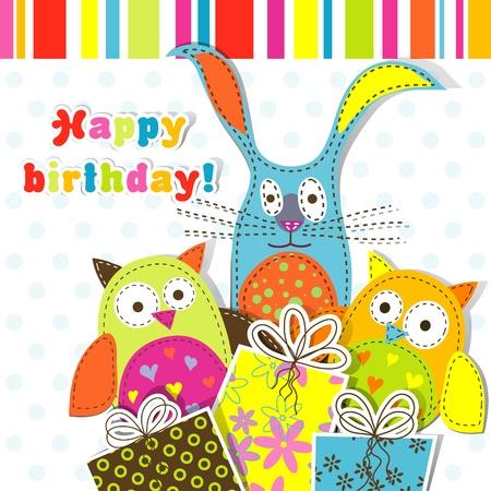 Template birthday greeting card, vector illustration Vector