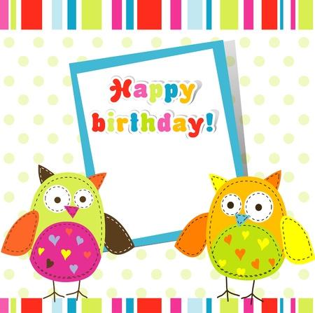 owl cute: Template greeting card, scrap vector illustration