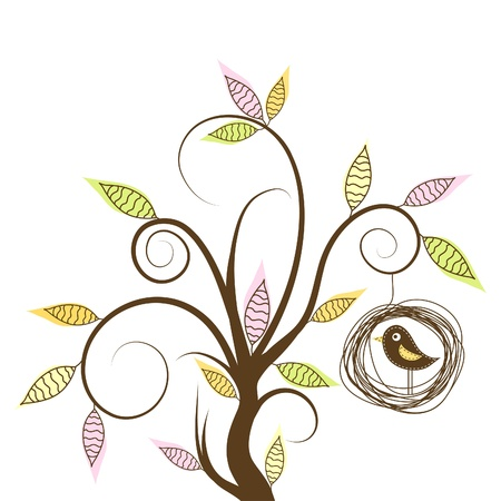 Decorative tree and bird, vector illustration Stock Vector - 13505970
