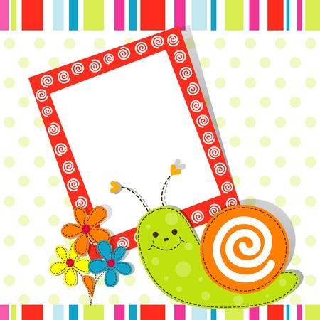 Template greeting card, vector scrap illustration Vector