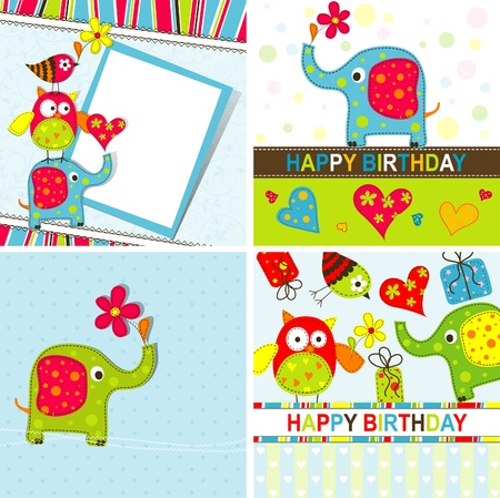 beauty birthday: Template greeting card, vector scrap illustration