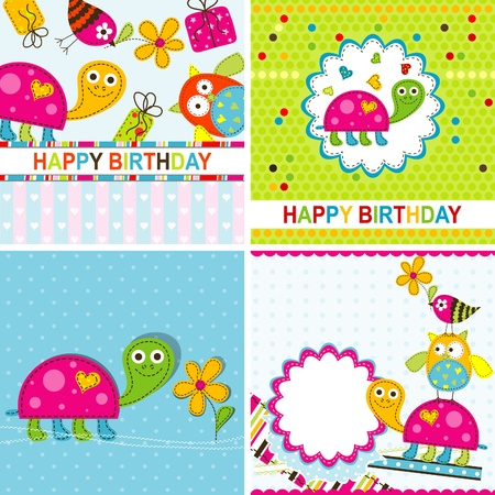 birth day: Template greeting card, vector scrap illustration