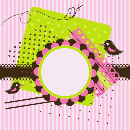 Template greeting card, vector scrap illustration Vector