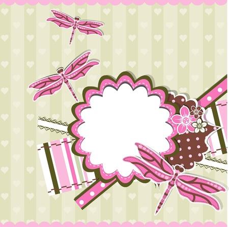 Template greeting card, scrap vector illustration Vector