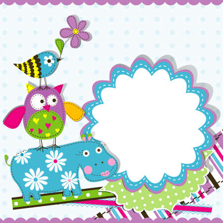 ilustracion: Plantilla de la tarjeta de felicitaci�n, ilustraci�n chatarra