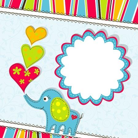 birth day: Template greeting card,scrap illustration