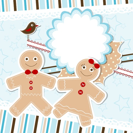 gingerbread man: Template christmas greeting card,  illustration