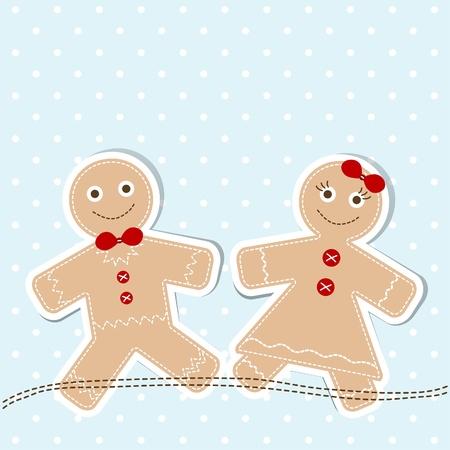 holiday cookies: Plantilla de Navidad tarjeta de felicitaci�n, ilustraci�n Vectores