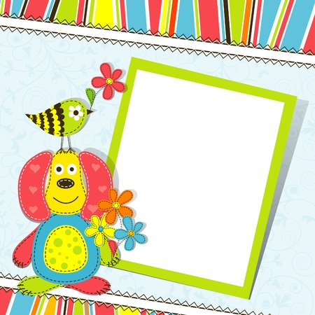 baby scrapbook: Template greeting card, illustration Illustration