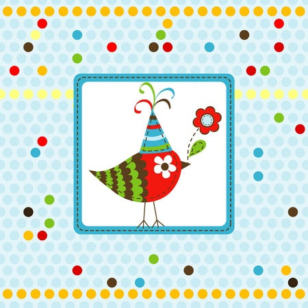 Template greeting card, scrap illustration Vector