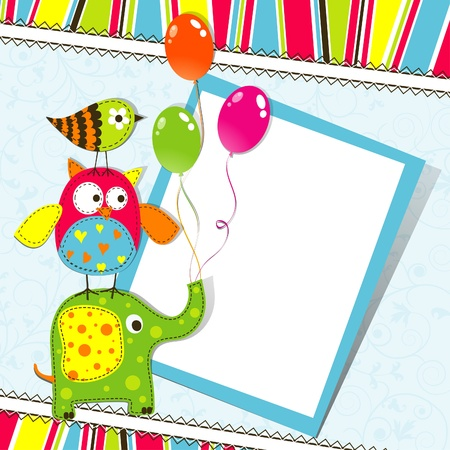 Template greeting card, scrap illustration