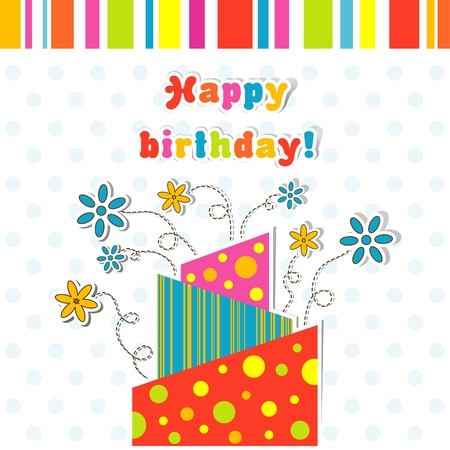 birth day: Template greeting card, illustration Illustration