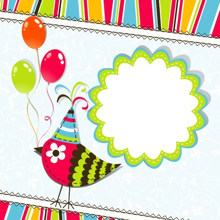 Template greeting card, scrap illustration Vector