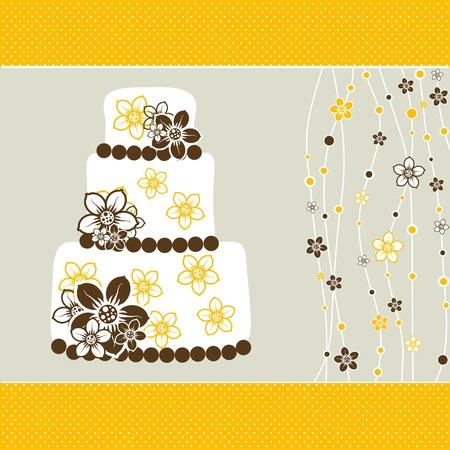 wedding cake illustration: Template greeting card, vector illustration